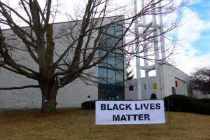 #BlackLivesMatter banner at First Parish Unitarian Universalist Arlington January 2015