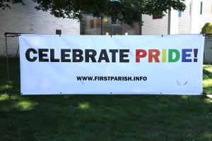 Banner on the First Parish lawn